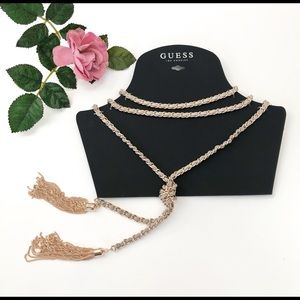 Guess Woven Chain Link Choker & Tassel Necklace